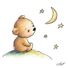Cute bear: drawing of cute teddy bear watching the star digital art. Teddy Bear Drawing Easy, Teddy Bear Sketch, Polar Bear Drawing, Polar Bear Cartoon, Cute Bear Drawings, Cartoon Drawings, Easy Drawings, Animal Drawings, Teddy Bear Tattoos
