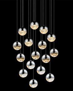 Grapes 16-Light Rectangle LED Chandelier
