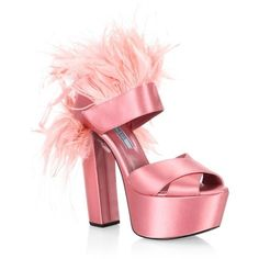 Prada FeatherTrim Satin Platform Sandals (€840) ❤ liked on Polyvore featuring shoes, sandals, high heels, pink, pink block heel sandals, block heel platform sandals, vintage platform sandals, pink platform shoes and high heels sandals