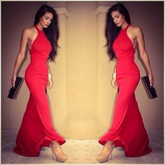 Red maxi dress. This is how it's done