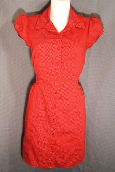 L~Cute A-Line Red Polka Dot Print Shirt DRESS~Waitress Style~Work~Retro~Rockabilly