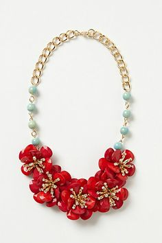 Camellia Bib Necklace #anthropologie The colors are so beautiful and the necklace is stunning!
