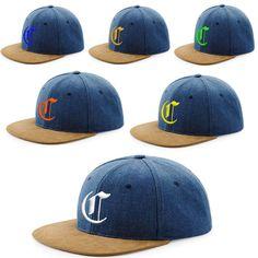 Snap Back Cap Suede Peak Hat Gothic 3D Letter C Snap Back Baseball Men Women