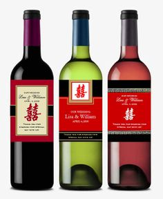 Chinese Double Happiness wine bottle labels.
