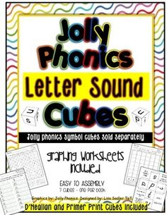 These Jolly Phonics cubes (similar to dice) and graphing activities is a fun and unique way to reinforce your students knowledge of the Jolly Phonics sounds. The graphing activities make it easy to differentiate within your classroom.  THIS DOWNLOAD IS THE LETTER SOUND VERSION - THE JOLLY PHONICS SYMBOLS VERSION IS ALSO AVAILABLE IN MY STORE