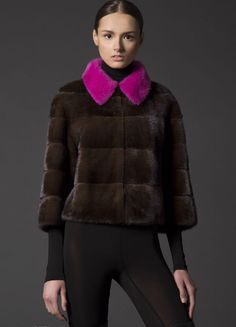 Mahogany Mink Fur Jacket with Dyed Pink Mink Fur Collar
