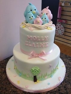Cute Birds Christening Cake