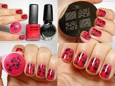 Base: BYS - Matte Red  Pattern: m65, Konad Special Nail Polish in Black