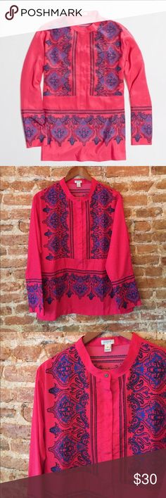 "•J. Crew• Dervish Silky Paisley Tunic J. Crew Dervish Silky Tunic in Excellent Used Condition. Half Button. Buttons at Cuffs worth Optional Flip Sleeves. Exposed Top Button. Poly. When Laying Flat, Bust Measures Approximately 20.5"", Length 26"" J. Crew Factory Tops"