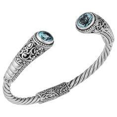 Blue Topaz Sterling Silver 'Balinese Gust' Cuff Bracelet (Indonesia)