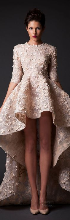 Add a long skirt of another neutral color, and sheer dupata.   Krikor Jabotian Fall-winter 2014-2015.