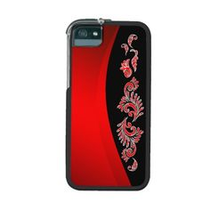 Red line and red Pattern on black iPhone 5 Cases