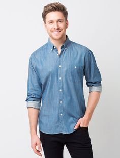 The Men's Bailey Denim Shirt is a classic wardrobe piece, and a perfect all-rounder for multiple work day scenarios. Pair this shirt with one of our denim aprons for a popular double-denim look, or coordinate with Jet Jeans and sneakers. Corporate Shirts, Business Shirts, Double Denim Looks, Mens Work Shirts, Classic Wardrobe, Denim Shirt, Men's Denim, Black Long Sleeve Dress, Jeans And Sneakers