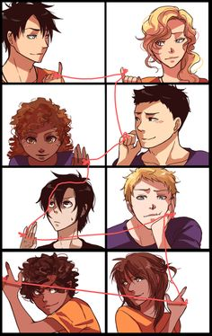 Omg just look at how perfect the characters personalities are portrayed. Annabeth and Percy are of course deeply in love and looking at each other. Frank is hopelessly and sweetly committed to hazel, and while she does love him, she's always watching over her brother Nico-- literally. Then there Jason, looking all dreamy eyed at piper, completely ignoring the fact that Leo and Piper are playing a miniature game of tug-of-war with their strings. Amazing