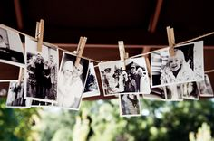 Display pictures from child to adult of bride and groom at wedding all black and white (maybe use pictures as table decoration, table number corresponding with age). Or every year of marriage for an anniversary party. Collection of photos for retirement ...