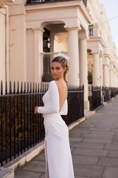 The wedding dress with sleeves for you to look stunning and elegant on your wedding day. Simple designer wedding gown from Milla Nova. Slit Wedding Dress, Simple Wedding Gowns, Gorgeous Wedding Dress, White Wedding Dresses, Bridal Dresses, Bridesmaid Dresses, Prom Dresses, Designer Wedding Gowns, Gowns With Sleeves