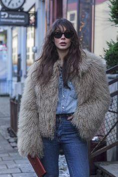 double denim with a faux fur
