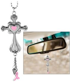 Pink Ribbon & Cross Car Charm at The Breast Cancer Site