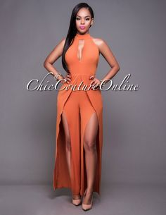 Chic Couture Online - Kyrie Copper Slit Legs Halter Jumpsuit.(http://www.chiccoutureonline.com/kyrie-copper-slit-legs-halter-jumpsuit/)