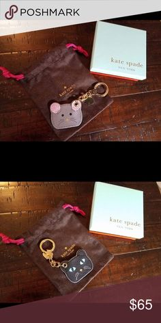 EUC Kate spade mouse/cat reversible key chain fob EUC hung from my purse once then put in storage! kate spade Accessories Key & Card Holders