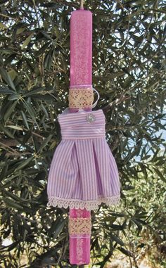 Greek Easter candle lampada with pink dress by amZinspirations