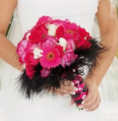Hot PInk Wedding Bouquet With Black Feathers