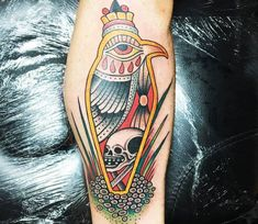 Amazing 3 colors traditional old school tattoo style of Bird Tomb motive done by tattoo artist Sam Ricketts Couple Tattoos, Tattoos For Guys, Tattoos For Women, World Tattoo, Tattoo You, Traditional Tattoo Colours, Traditional Tattoos, Hawaiian Tattoo, Tattoos Gallery