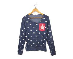 Starry Pocket  HAND STENCILED Slouchy Scoop Neck by twostringjane