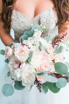 Spring wedding bouquet idea - blush + greenery bouquet with roses, peonies and eucalyptus {Photo by The Lees Photography}