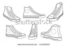 Sneakers at various angles outline vector illustration Shoe Sketches, Clothing Sketches, Sneakers Mode, Sneakers Fashion, Fashion Shoes, Winter Sneakers, Men Sneakers, Converse Sneakers, Casual Sneakers