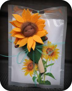 Sunflower felt pegdoll