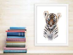 New to TinyToesDesign on Etsy: Jungle Nursery Art Tiger Cub Print Animal Art Baby Tiger Watercolor Baby Animal Kids Wall Decor Blue Brown Bengal Tiger 8.5x11 (15.00 USD) #nurseryart #tombowpro