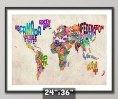Typographic Text Map of the World Map Art Print 24x36 by artPause