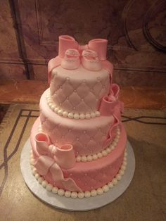 MoniCakes: Pink & Pearls Baby Shower Cake
