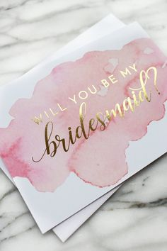 Will you be my bridesmaid proposal card // gold foil and pink watercolor br . Will you be my bridesmaid proposal card // gold foil and pink watercolor bridesmaid card // maid of honor card STEP-BY-S. Bridesmaid Proposal Cards, Bridesmaid Boxes, Asking Bridesmaids, Be My Bridesmaid Cards, Bridesmaids And Groomsmen, Bridesmaid Gifts Will You Be My, Ask Bridesmaids To Be In Wedding, Wedding Proposals, Marriage Proposals