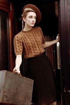Fall browns, popcorn-knit sweater