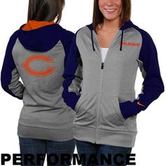 Antigua Chicago Bears Womens Signature Full Zip Hoodie - Navy Blue