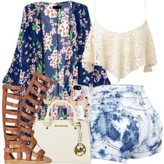 A fashion look from August 2014 featuring chiffon kimono, denim shorts and gladiator sandals. Browse and shop related looks.