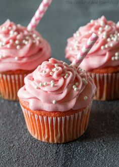 These Strawberry Milkshake Cupcakes are bursting with strawberry flavor. If you are looking for a delicious strawberry dessert, these cupcakes are divine! Milkshake Cupcakes, Kid Cupcakes, Strawberry Milkshake, Strawberry Cupcakes, Cupcake Cakes, Fruit Cupcakes, Strawberry Frosting, Cup Cakes, Cupcake Flavors