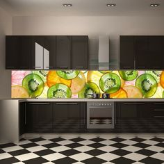 amazing kitchen photo wallpaper instead of tiles / wall mural