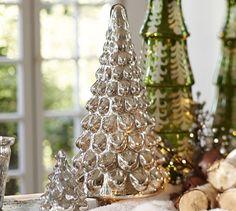 silver mercury glass trees pottery barn - Mercury Glass Christmas Trees
