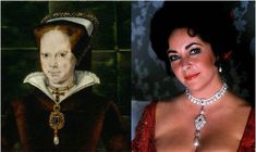 """The famous La Peregrina Pearl given to Queen Mary I (aka """"Bloody Mary) by Philip II...and also owned by Liz. Portrait painted by Hans Eworth"""