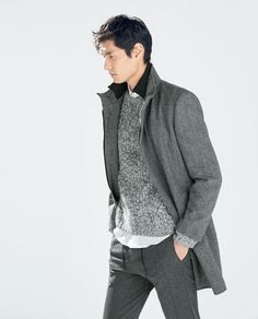 Image 2 of HERRINGBONE COAT WITH KNITTED COLLAR from Zara