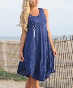 Loving this Navy Embroidered Sleeveless Dress on #zulily! #zulilyfinds