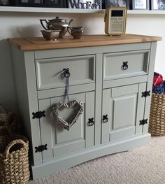 Shabby Chic Solid Pine Sideboard Finished In Farrow Ball French Grey