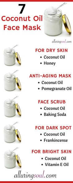 7 Coconut Oil Face Mask For Flawless Skin Coconut oil heals skin. It moisturizes dry skin, treats wrinkles, dark spots, removes skin redness and also exfoliates skin. Coconut oil makes skin bright and glowing. Mask For Dry Skin, Moisturizer For Dry Skin, Oils For Skin, Oily Skin, Dry Skin On Face, Your Skin, Coconut Oil Face Moisturizer, Sensitive Skin, Facial For Dry Skin