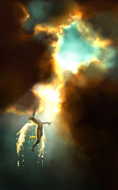 Icarus Falling (Sun, reversed) http://www.janetboyer.com/Tarot-in-Reverse.html