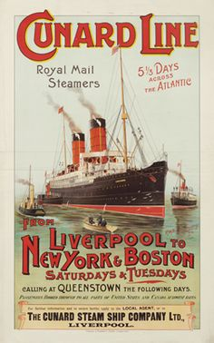 Neville-Cumming, R. Cunard Line - Liverpool to New York & Boston, 1894 Tourism Poster, Merchant Marine, Vintage Boats, Bus Travel, Vintage Typography, Vintage Travel Posters, Vintage Advertisements, Liverpool, Illustrations