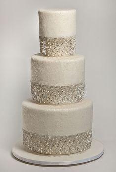 Wedding Cake Photos  Rhinestone fringe adds extra sparkle to this (edible) glitter-dusted cake.