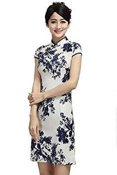JTC Femmes Cheongsam Qipao Robe Style Chinois motif de fleur en Coton de Chanvre (32-34/Asie S)